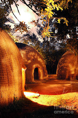 Art Print featuring the photograph African Grass Huts by Michael Edwards