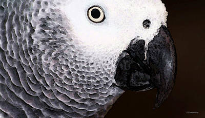 Parrot Painting - African Gray Parrot Art - Seeing Is Believing by Sharon Cummings