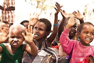 Photograph - African Kids With Hands Up by Anna Om