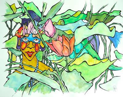 African Lady In Leaves Art Print