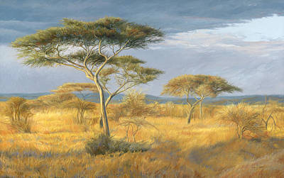 African Painting - African Landscape by Lucie Bilodeau