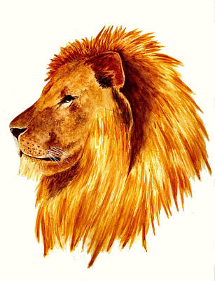 African Male Lion Art Print by Michael Vigliotti