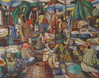 Painting - African Market by Enrique Ojembarrena