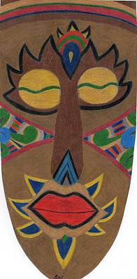 Drawing - African Mask by Bav Patel
