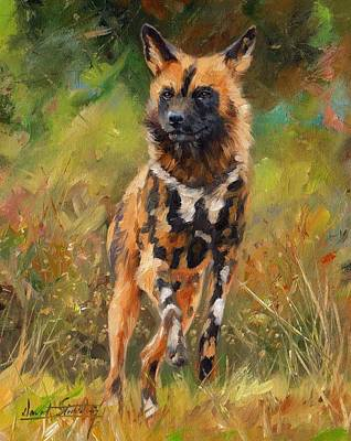 Wild Dogs Painting - African Painted Wild Dog  by David Stribbling