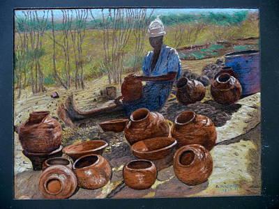 Field Lights Drawing - African Pots And Girl. by Rashid Hamza