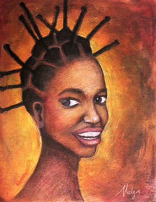 African Child Painting - African Queen by Mbwidiffu Malgwi