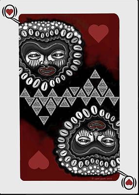 Painting - African Queen-of-hearts Card by Carol Jacobs
