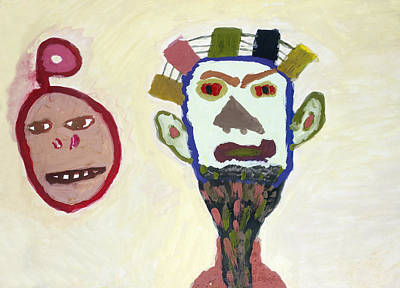 Mystic Desert Painting - African Ritual Masks by Simonas Pazemeckas