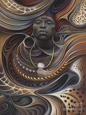 Brown Painting - African Spirits I by Ricardo Chavez-Mendez