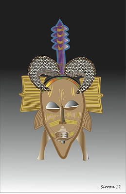 African Tribal Ceremonial Mask Art Print by Sirron Kyles