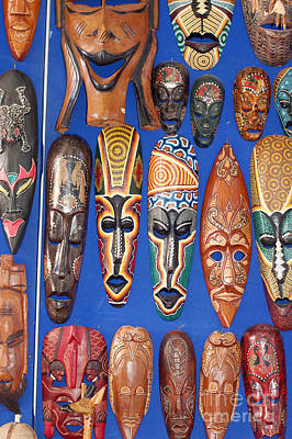 Sidi Bou Said Digital Art - African Tribal Masks In Sidi Bou Said by Eva Kaufman