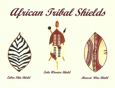 Zebra Painting - African Tribal Shields Number 2 by Michael Vigliotti