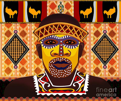 Performing Mixed Media - African Tribesman 2 by Bedros Awak