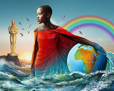 Barrack Obama Painting - The Lupita Tsunami by Anthony Mwangi