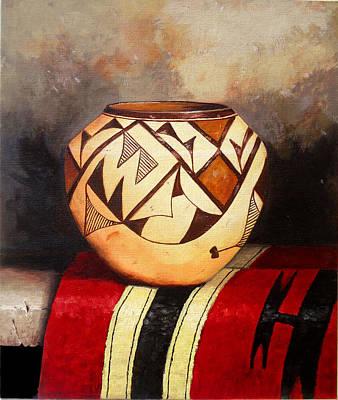 Still Life Painting - African Vase by Amani Al Hajeri