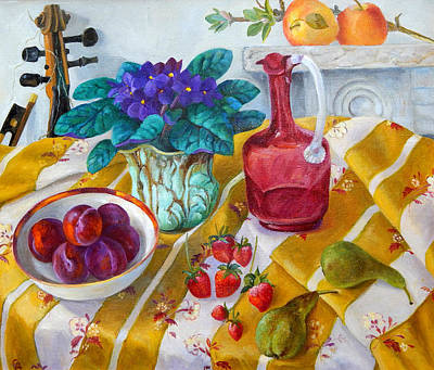 Pear Painting - African Violets by Cristiana Angelini