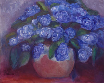 Painting - African Violets by Susan Hanlon