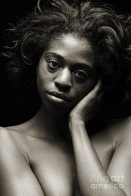 Chynna African American Nude Girl In Sexy Sensual Photograph And In Black And White Sepia 4784.01 Art Print by Kendree Miller