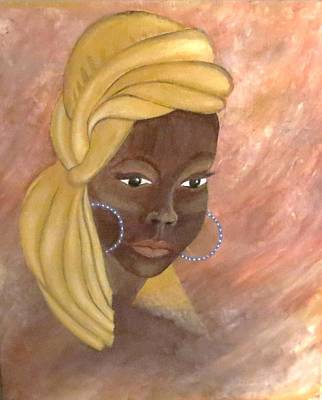 Portrate Painting - African Woman by Gail Peltomaa