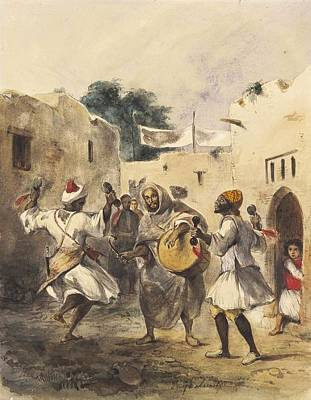 Africans Dancing In The Street Print by Eugene Delacroix