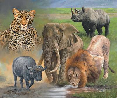 Leopard Wall Art - Painting - Africa's Big Five by David Stribbling