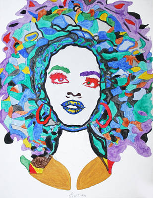 Print featuring the painting Afro Lauryn Hill  by Stormm Bradshaw