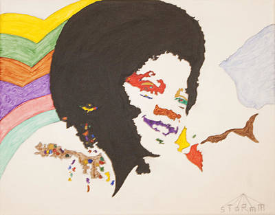 Print featuring the painting Afro Michael Jackson by Stormm Bradshaw