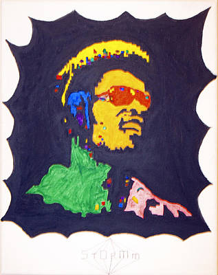 Print featuring the painting Afro Stevie Wonder by Stormm Bradshaw