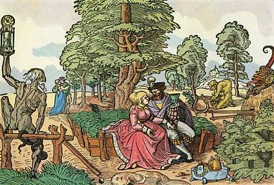 After A 16th Century Woodcut By Peter Flötner Entitled The Hazards Of Love.  Lovers In A Garden Art Print