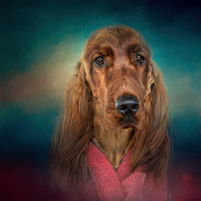 After A Swim - Irish Setter - Dog Art Art Print