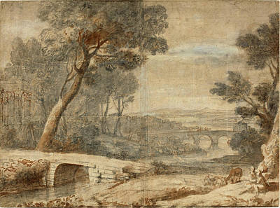 Wash Drawing - After Claude Lorrain, The Rest On The Flight Into Egypt by Quint Lox