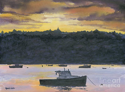 Lobster Boat Maine Painting - After Glow by Heidi Gallo