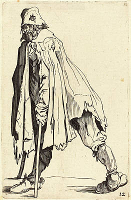 Crutch Drawing - After Jacques Callot, Beggar With Crutches And Cap by Quint Lox