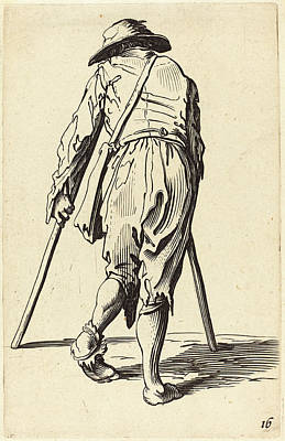 Crutch Drawing - After Jacques Callot, Beggar With Crutches And Hat by Quint Lox