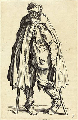 Crutch Drawing - After Jacques Callot, Beggar With Crutches And Sack by Quint Lox