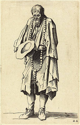 After Jacques Callot, Beggar With Rosary Art Print by Quint Lox