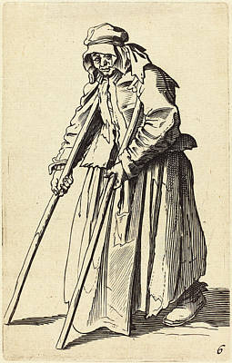 Crutch Drawing - After Jacques Callot, Beggar Woman With Crutches by Quint Lox