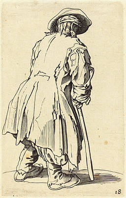 Crutch Drawing - After Jacques Callot, Old Beggar With One Crutch by Quint Lox