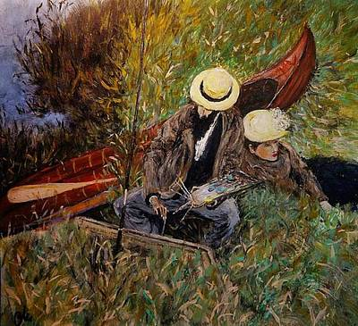 Old Man Fishing Painting - After John Singer Sargent- Paul Cesar Helleu Sketching With His Wife 1889 by Cristina Mihailescu