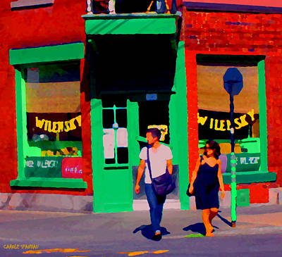 After Lunch At Wilenskys Restaurant Crossing Fairmount Montreal Street Scene Art Carole Spandau Art Print by Carole Spandau