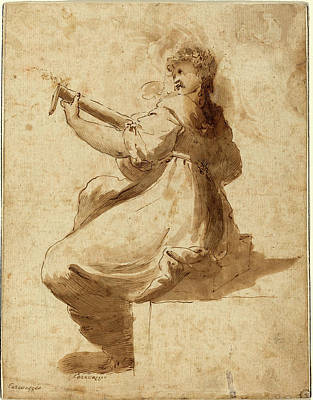 Lute Drawing - After Orazio Gentileschi, The Lute Player by Litz Collection