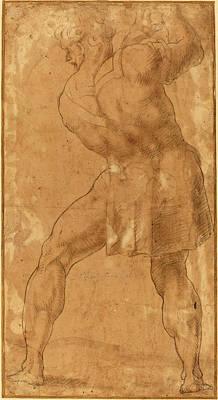 After Polidoro Da Caravaggio, Figure Of A Man Art Print by Quint Lox