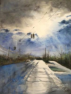 After Rain -on The Michigan Ave. Saline Michigan Art Print by Yoshiko Mishina