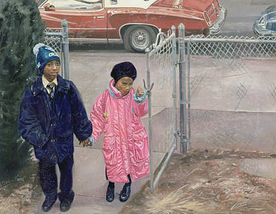 African-american Painting - After School by Colin Bootman
