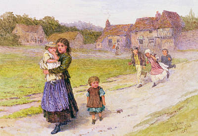 Old School House Drawing - After School by Henry Towneley Green