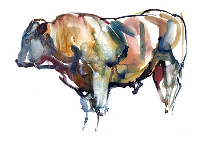 Cow Drawing - After Sunset by Mark Adlington