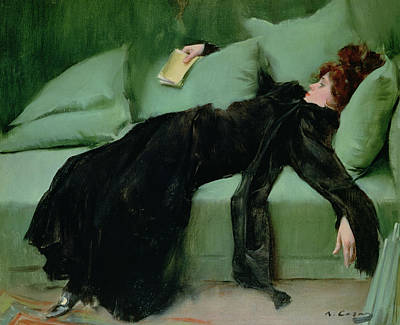 Nap Painting - After The Ball  by Ramon Casas i Carbo