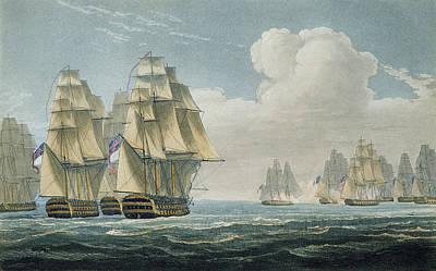 Boats In Water Drawing - After The Battle Of Trafalgar by Thomas Whitcombe