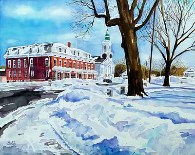 Millbury Painting - After The Grafton Common Snow by Scott Nelson